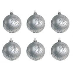Bolas decoradas Plata BL/6 GUIRMA